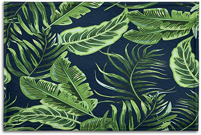 Amazon Com Bjoleds Indoor Outdoor Doormats Green Tropical Leaves Seamless Pattern On Black Background Decorative Non Slip Entrance Floor Mats Bathroom Kitchen Areas Shoe Rugs 15 7 X 23 6 Garden Outdoor Ideal for any project that requires leaf, tropical, purple. amazon com