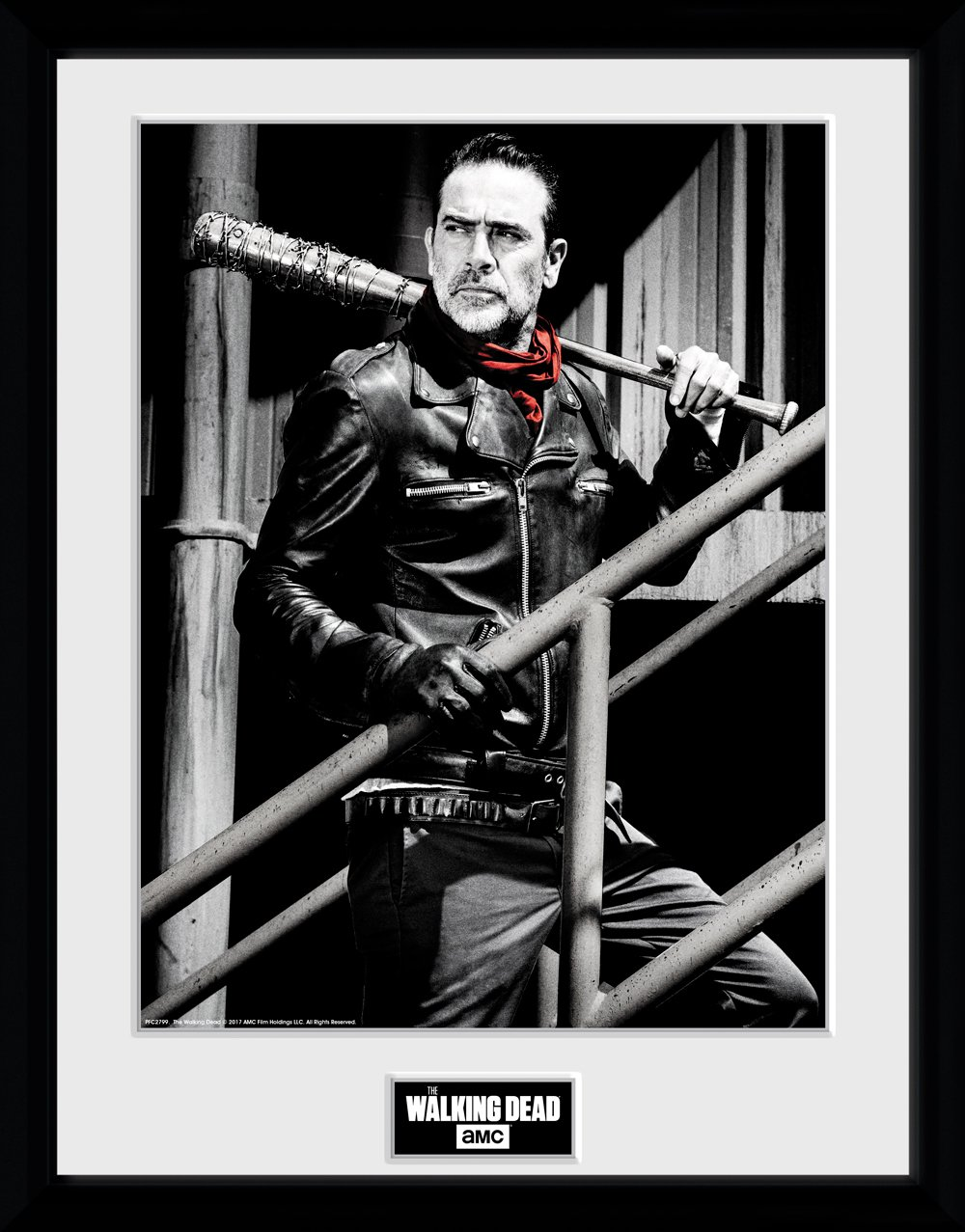 GB eye Ltd Walking Dead, Negan Stairs, Framed Print 30x40cm, Wood, Various, 52 x 44 x 3 cm PFC2799