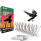 Aspectek Stainless Steel Bird Spikes 10 Feet (3 Metre), Bird Deterrent Kit With Transparent Silicone Glue