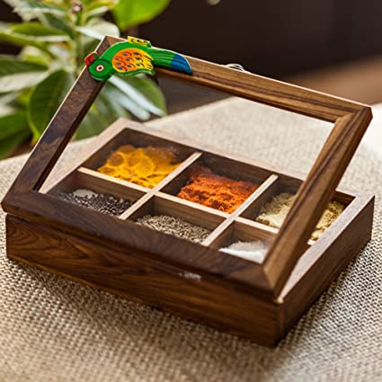 ExclusiveLane Teak Wooden Table Top Masala Dabba Containers Jars Cum  Kitchen Spice Box With Spoon (