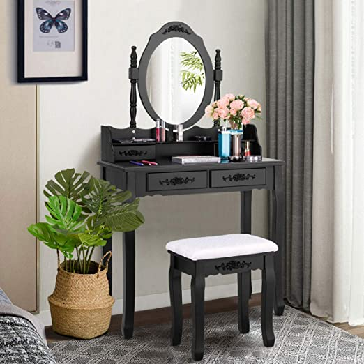 Giantex Vanity Set with Oval Mirror and 4 Drawers, Makeup Dressing Table  with Cushioned Stool, Modern Bedroom Bathroom Dressing Table for Women  Girls ...