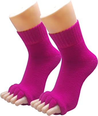 Women Gym Sports Yoga Massage Five Toe Separator Socks Fitted Foot Alignment