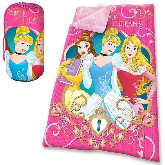 Kids Euroswan Saco de Dormir con Diseño Princesas, Poliéster, Rosa, 70 x 140 cm