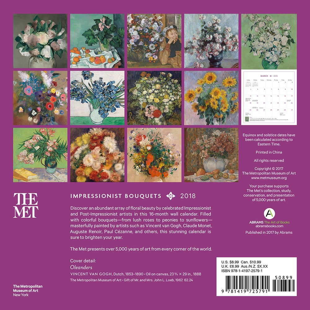 impressionist bouquets 2018 mini wall calendar the metropolitan museum of art 9781419725791 amazoncom books