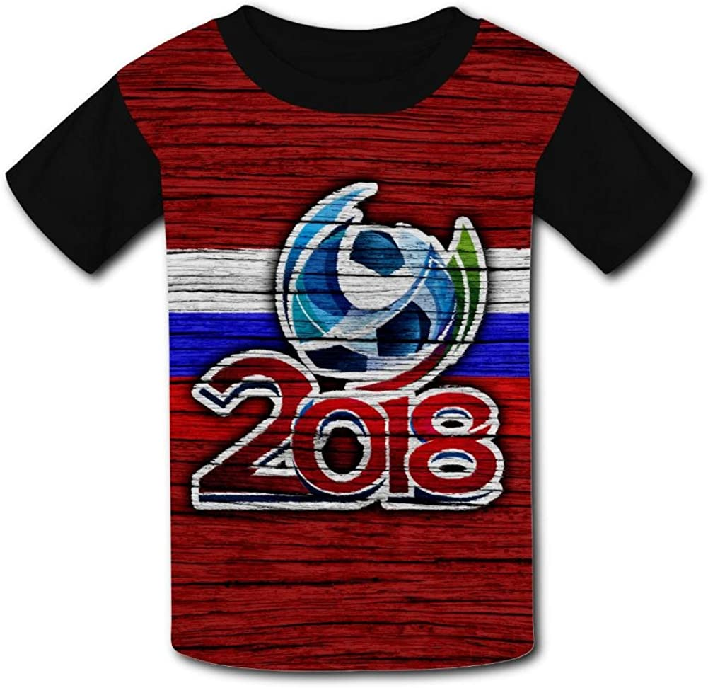 Elcacf Kids//Youth 2018 Russia World Cup Wood Pattern T-Shirts Short Sleeve Children Tees