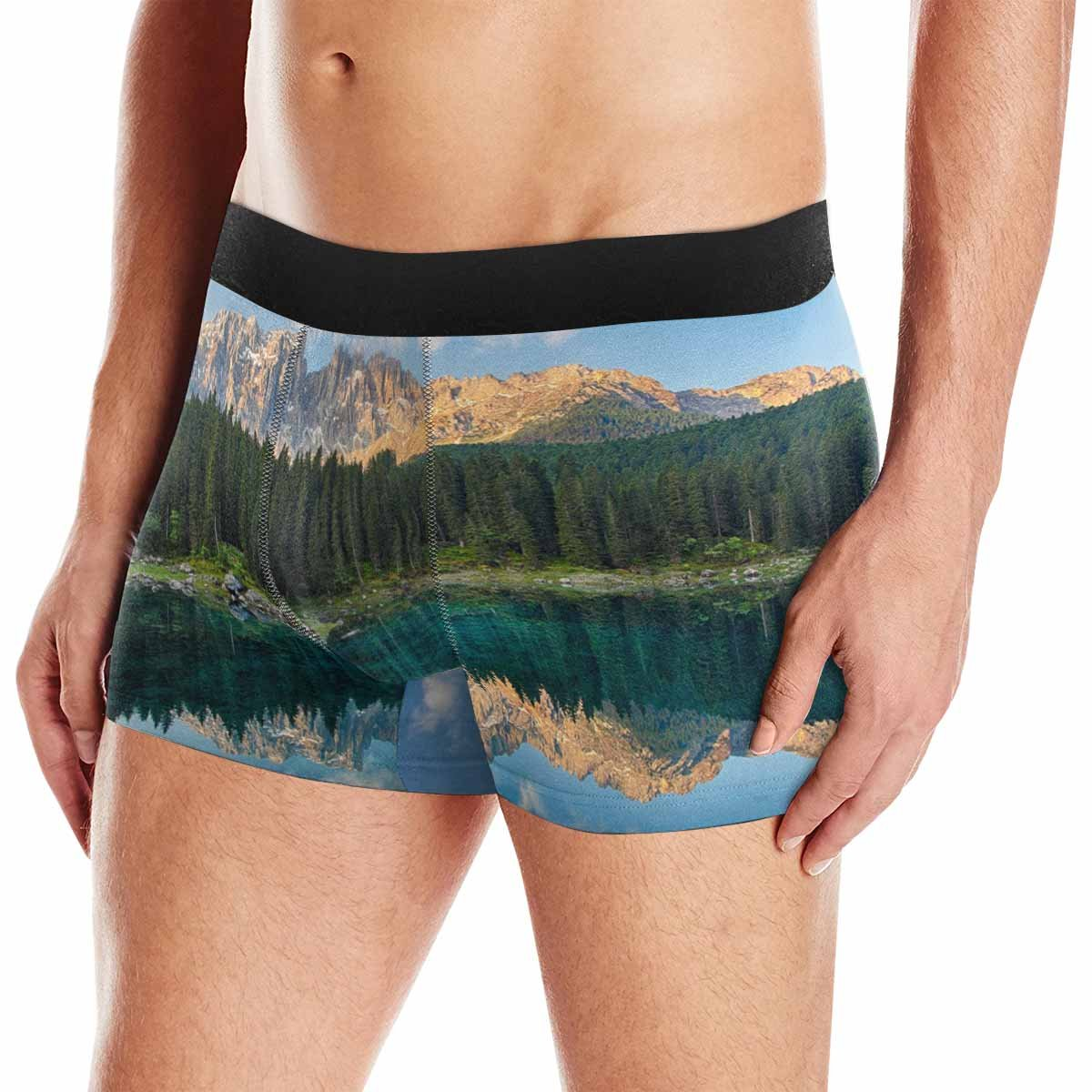 INTERESTPRINT Custom Mens Boxer Briefs Lake with Mountain Forest Landscape XS-3XL Lago Di Carezza