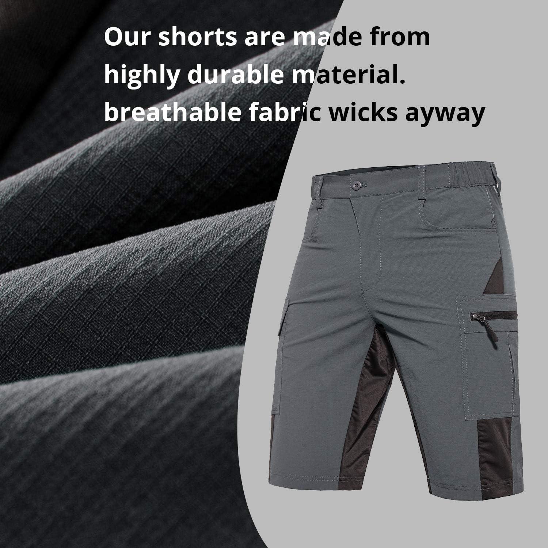Gouxry Herren MTB Kurze Hose Schnelltrocknende Mountainbike Hose mit 5 Rei/ßverschluss Taschen Atmungsaktiv Elastische Fahrradhose Herren