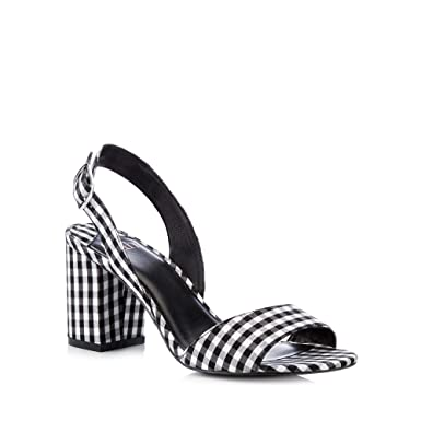 5e7ff0425d Faith Womens Multicoloured Gingham 'Darylle' Block Heel Open Toe Sandals 3