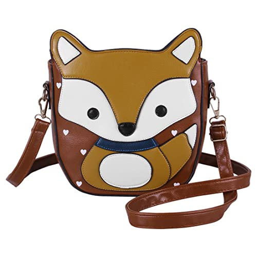272195a4d09a Ecosusi Women Cute Fox Design Soft Pu Leather Crossbody Bag Hobo Shoulder  Bag Satchel (Light brown   Yellow)  Amazon.ca  Shoes   Handbags