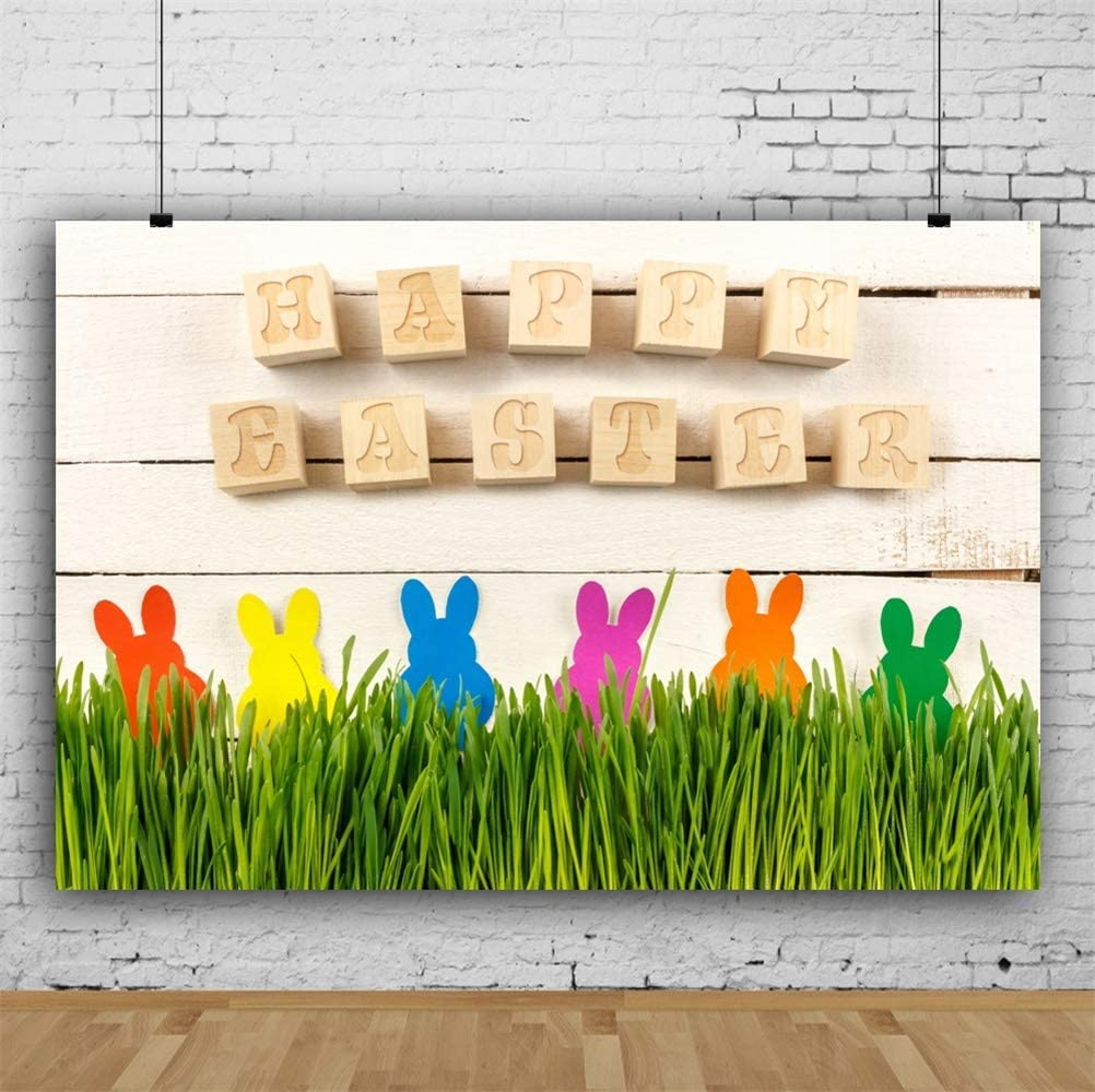 Happy Easter 8x6.5ft Polyester Photography Background Cute Wooden Square Letters Colorful Easter Bunnies Decors Grass Rustic Wood Plank Backdrop Easter Egg Hunt Day Banner Wallpaper