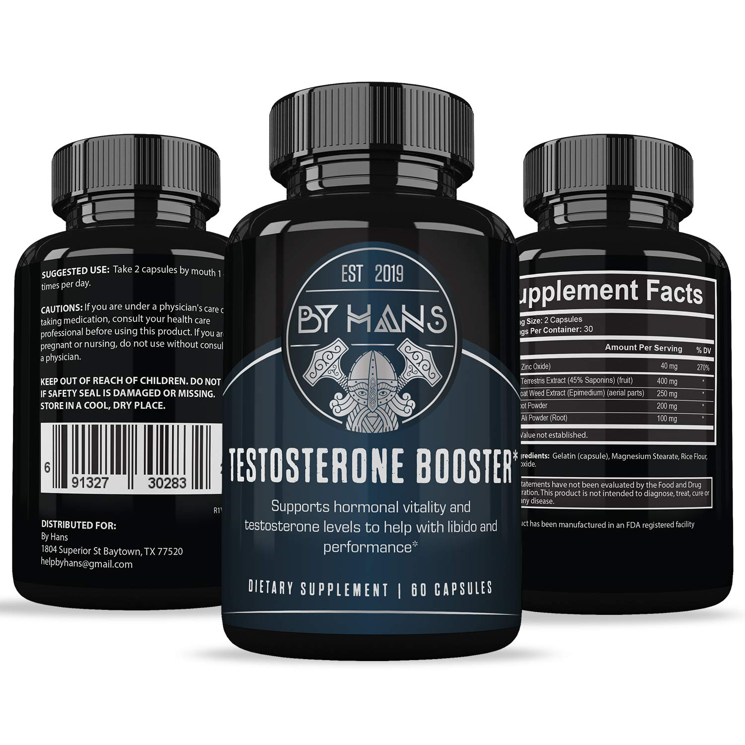 Testosterone Booster for Men - Naturally Increase Stamina & Libido - Endurance & Strength Booster - Burn Fat & Build Lean Muscle - 60 Capsules by By Hans (Image #4)
