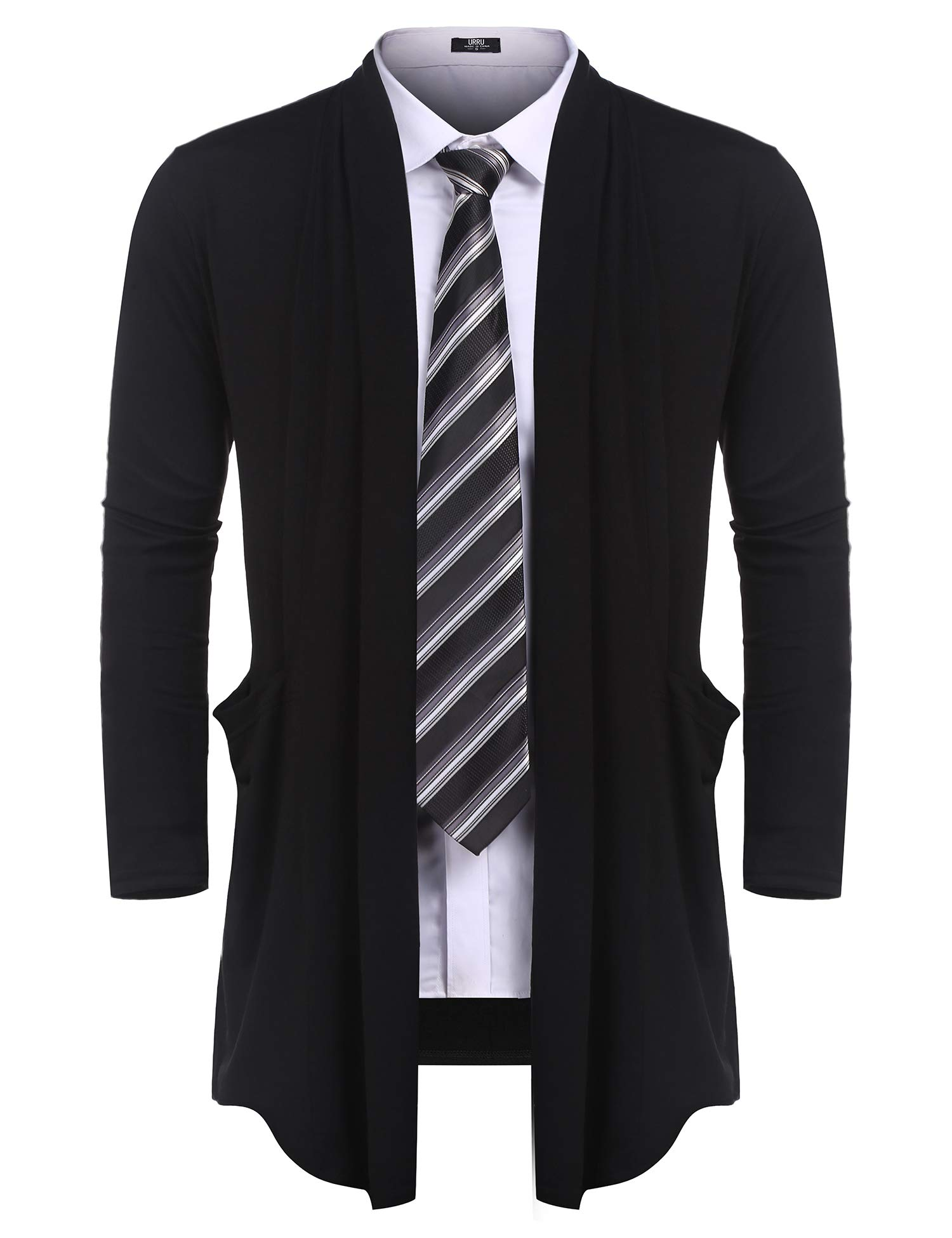 URRU Men's Ruffle Shawl Collar Cardigan Sweater Long Length Overcoat with Pockets S-XXL