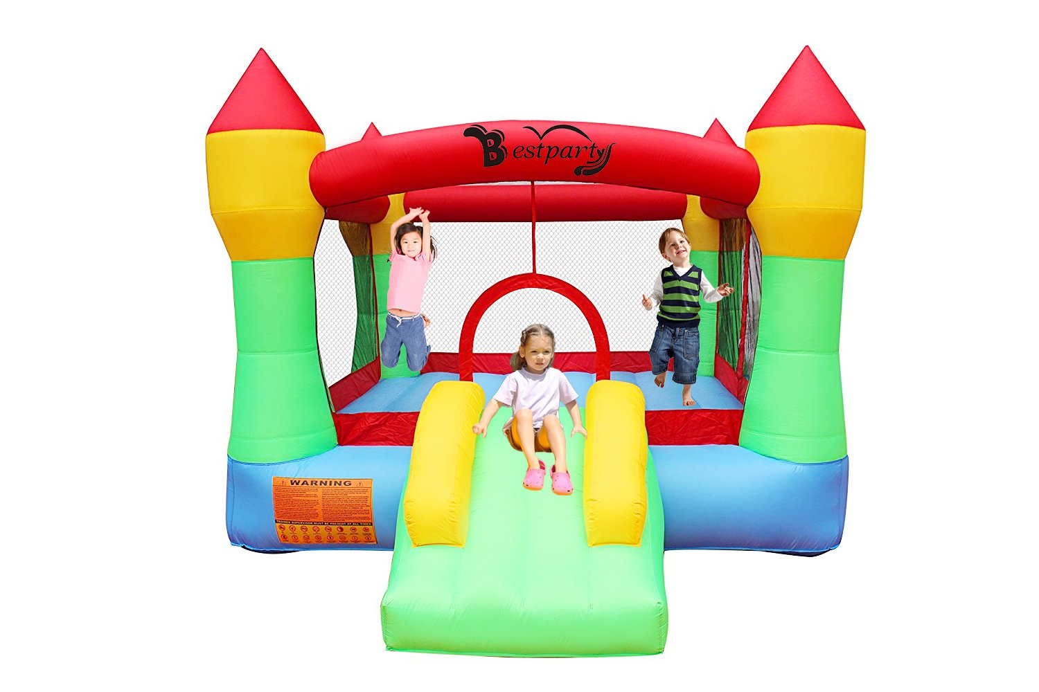 BestParty Inflatable Bounce House Castle Jumper Moonwalk Slide Inflatable Jumping Bouncy House with Blower