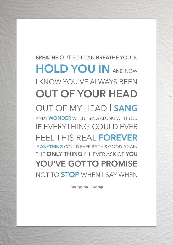 Foo Fighters - Everlong - Funky Lyric Art Print - A4 Size: Amazon.co ...