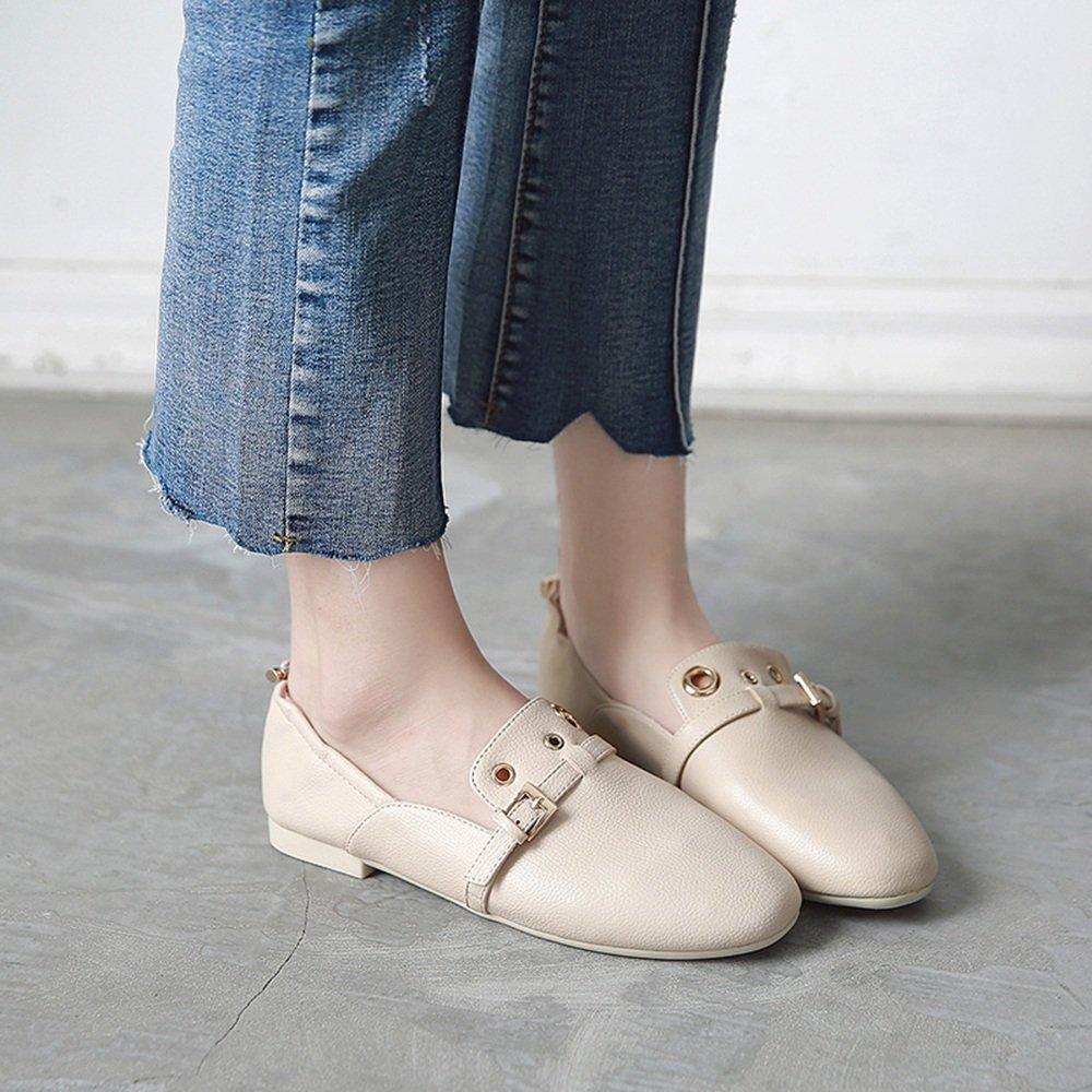 HAIZHEN Ladies Girls Botines Zapatos de mujer PU Summer Fall Comfort Flats talón plano redondo Toe para oficina y carrera Para 18-40 años de edad (Color ...