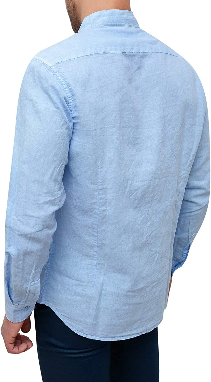 Evoga Camicia Uomo Sartoriale Celeste in Lino Slim Fit Casual Elegante