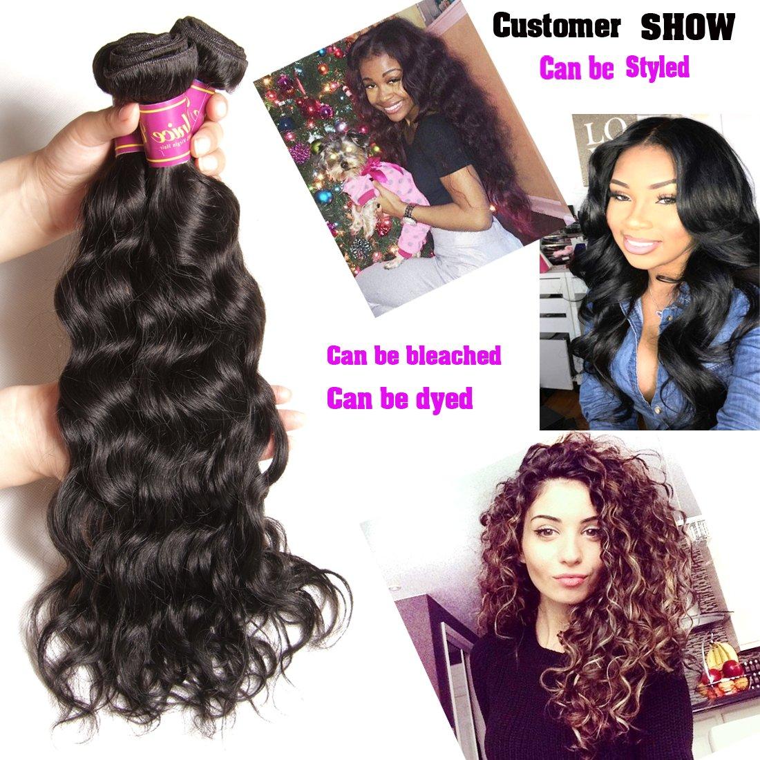 Unice 7A Grade Brazilian Natural Wave Hair 100% Virgin Human Hair 3 Bundles with Closure Natural Color (20 22 24+18Free Closure) by UNICE (Image #2)