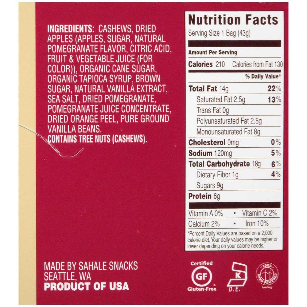 Sahale Snacks Naturally Pomegranate Vanilla Flavored Cashews Glazed Mix, 1.5 Ounce -- 108 per case.