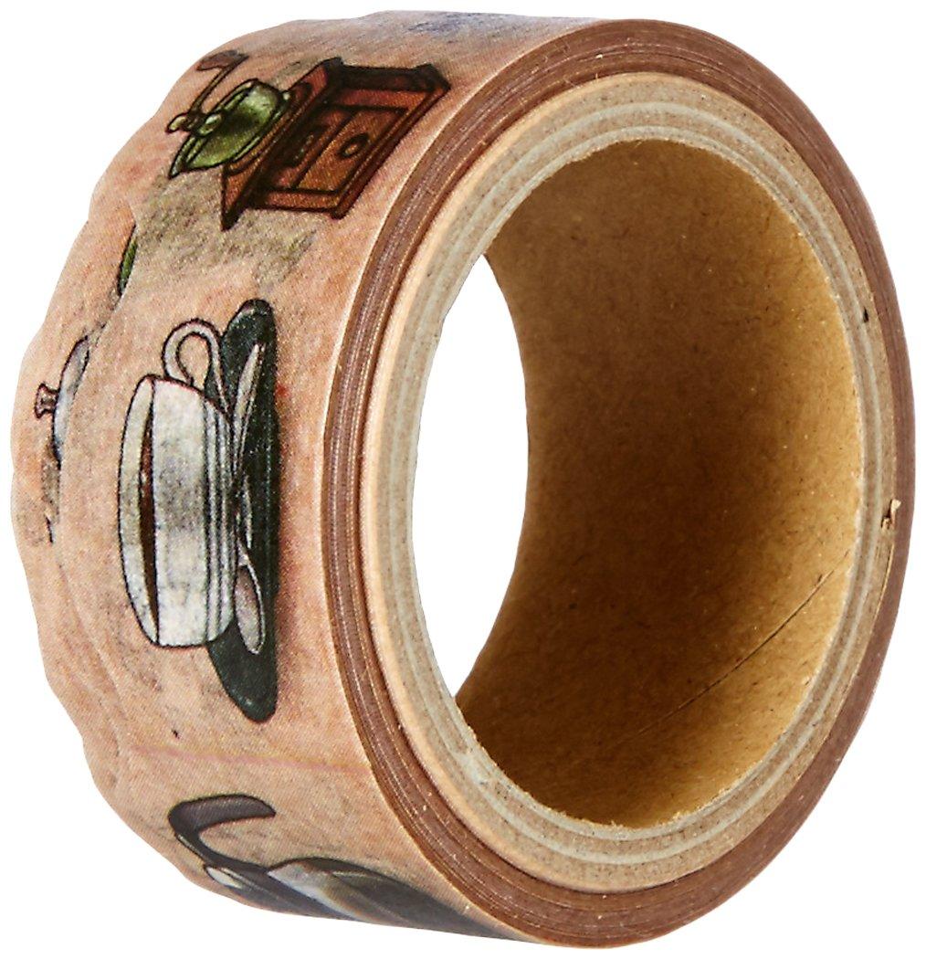 Roundtop Designer's Washi Masking Tape 20mm x 5m, Yano Design Series Natural, Coffee (YD-MK-020)