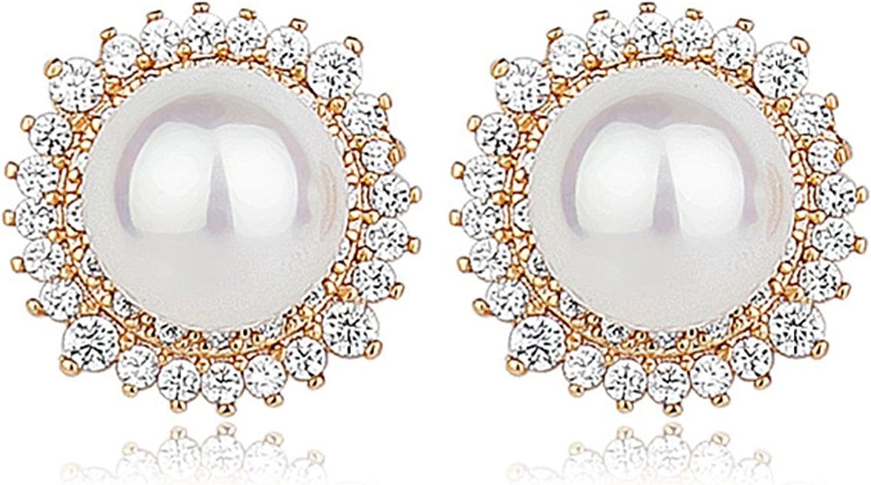 Beydodo Pendientes Chapado en Oro Pendientes Perla Redonda Cristal Pendientes de Mujer Pendientes Cristal de Murano Pendientes Oro Blanco
