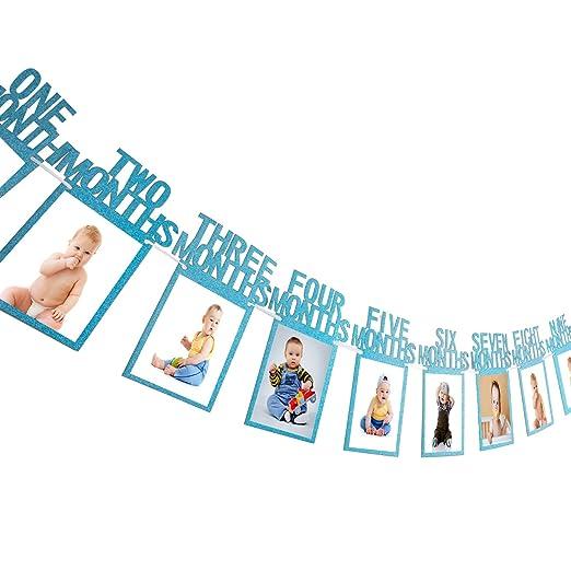 Guirnalda de Banderines de 1er Cumpleaño Bandera de Foto de Bebé Apoyo de Foto de 1-12 Meses Banderines de Fiesta Papel de Tarjeta Kraft Engrosado ...