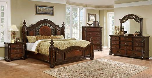 Amazon.com: Raza Living Verona Post Bedroom Collection (4 Pc ...