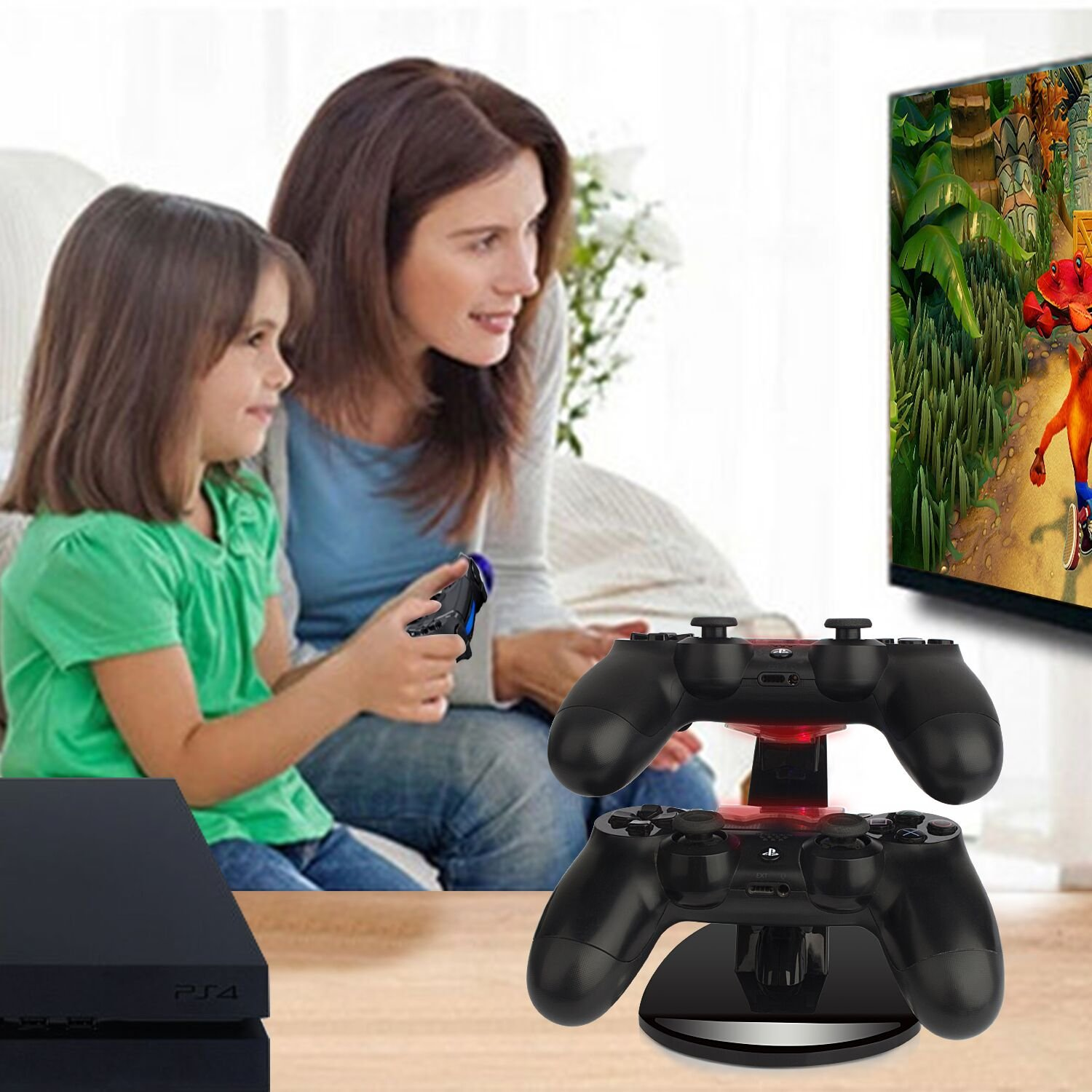 PS4 Controller Charger Dual USB Wireless PS4 Fast Charger Station with LED Indicator Playstation 4 Controller Charger Charging Station Stand for Sony Playstation 4 PS4/PS4 Pro/PS4 Slim Controller