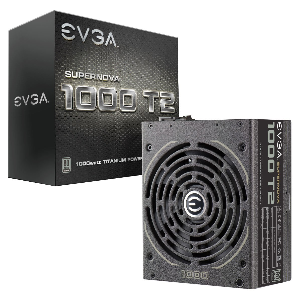 EVGA SuperNOVA 1000 T2, 80+ TITANIUM 1000W, Fully Modular, EVGA ECO Mode, 10 Year Warranty , Includes FREE Power On Self Tester, Power Supply 220-T2-1000-X1