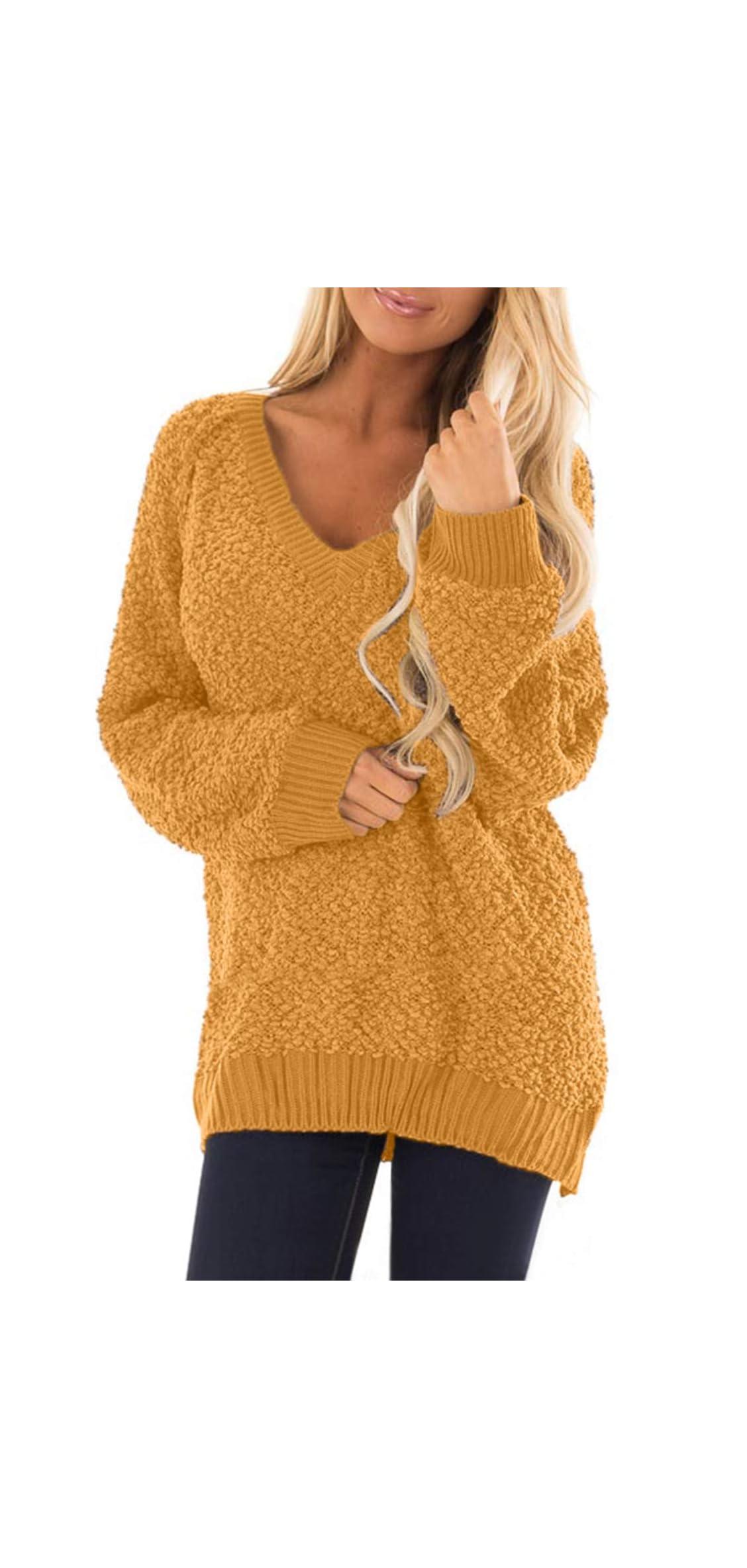 Women's Oversized V Neck Fuzzy Sherpa Fleece Pullover