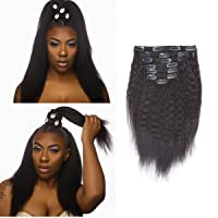 Lacerhair Virgin Brazilian Clip in Human Hair Extensions Kinkys Coarse Thick Double...