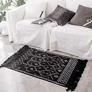 Boho Bathroom Rug Runner, Black White Bath Mat, Woven Cotton Small Throw Rug 2'x4.3', Tassel Rug for Kitchen Laundry Doorway Bedroom