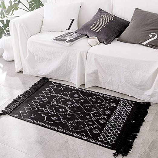 Amazon Com Boho Bathroom Rug Black And White Bath Mat Cotton Woven With Tassles Modern Geometric Patterned Bohemian Floor Carpet For Hallway Entryway Door Washable Accent Bedroom Living Room Rug 2 X4 3 Kitchen