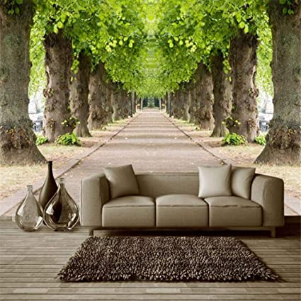 amazon com hwhz custom 3d mural wallpaper forest road living roomimage unavailable