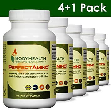 0b32d5a0df25f BodyHealth PerfectAmino (4+1 Pack) All 8 Essential Amino Acids Supplements  with BCAAs