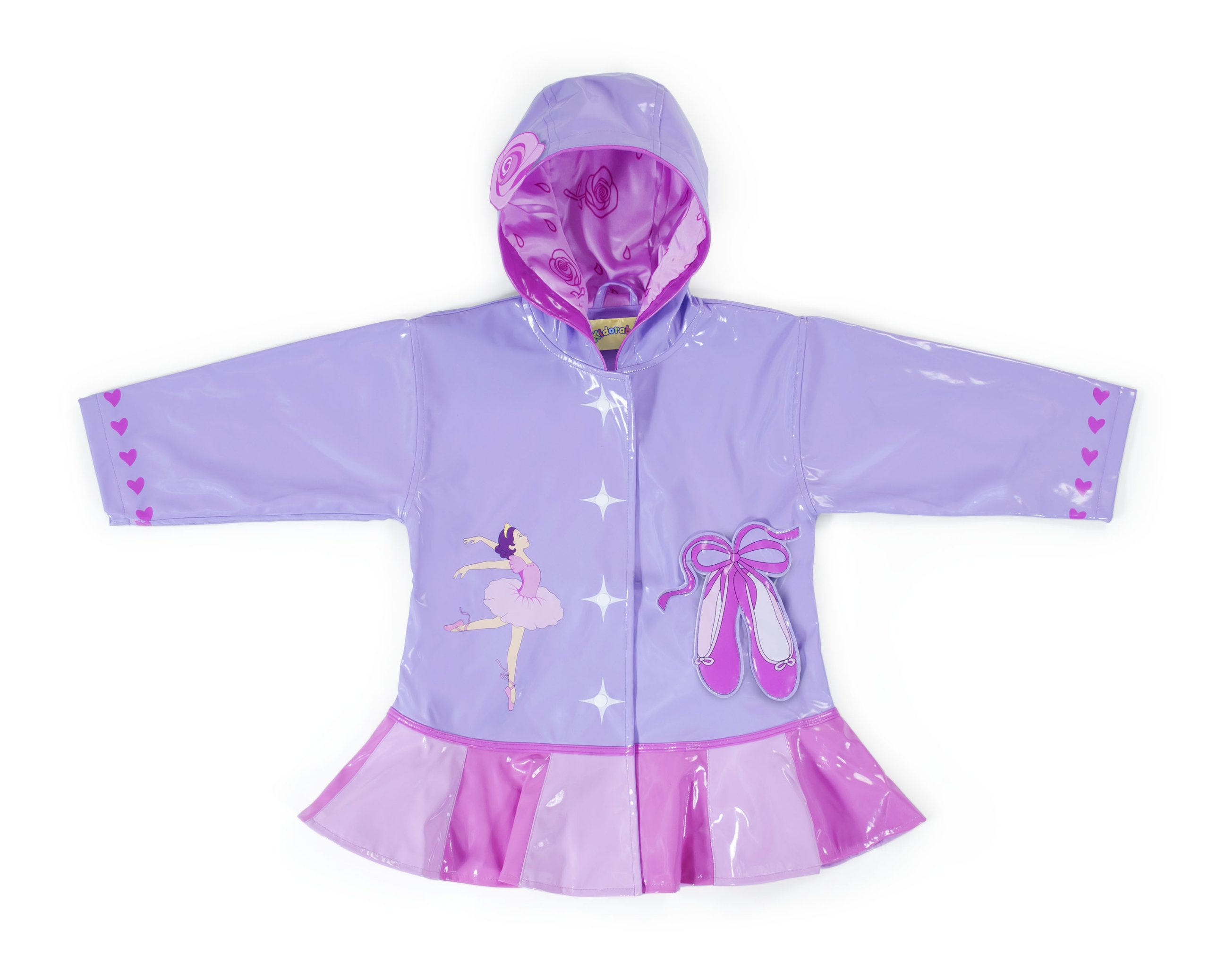 Kidorable Pink Ballerina PU All-Weather Raincoat for Girls w/Roses Dancer Hearts Ballet Shoes 4T