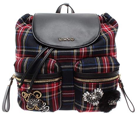 sito affidabile 8bd05 7c0d5 LIU JO Milano Women's Bag Zaino Tartan Nero Black Red M ...