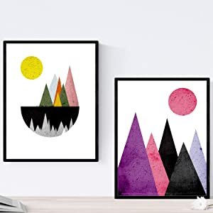 Nacnic Prints Geometric Mountains - Set of 1 - Unframed 11x17 inch Size - 250g Paper - Beautiful Poster Painting for Home Office Living Room