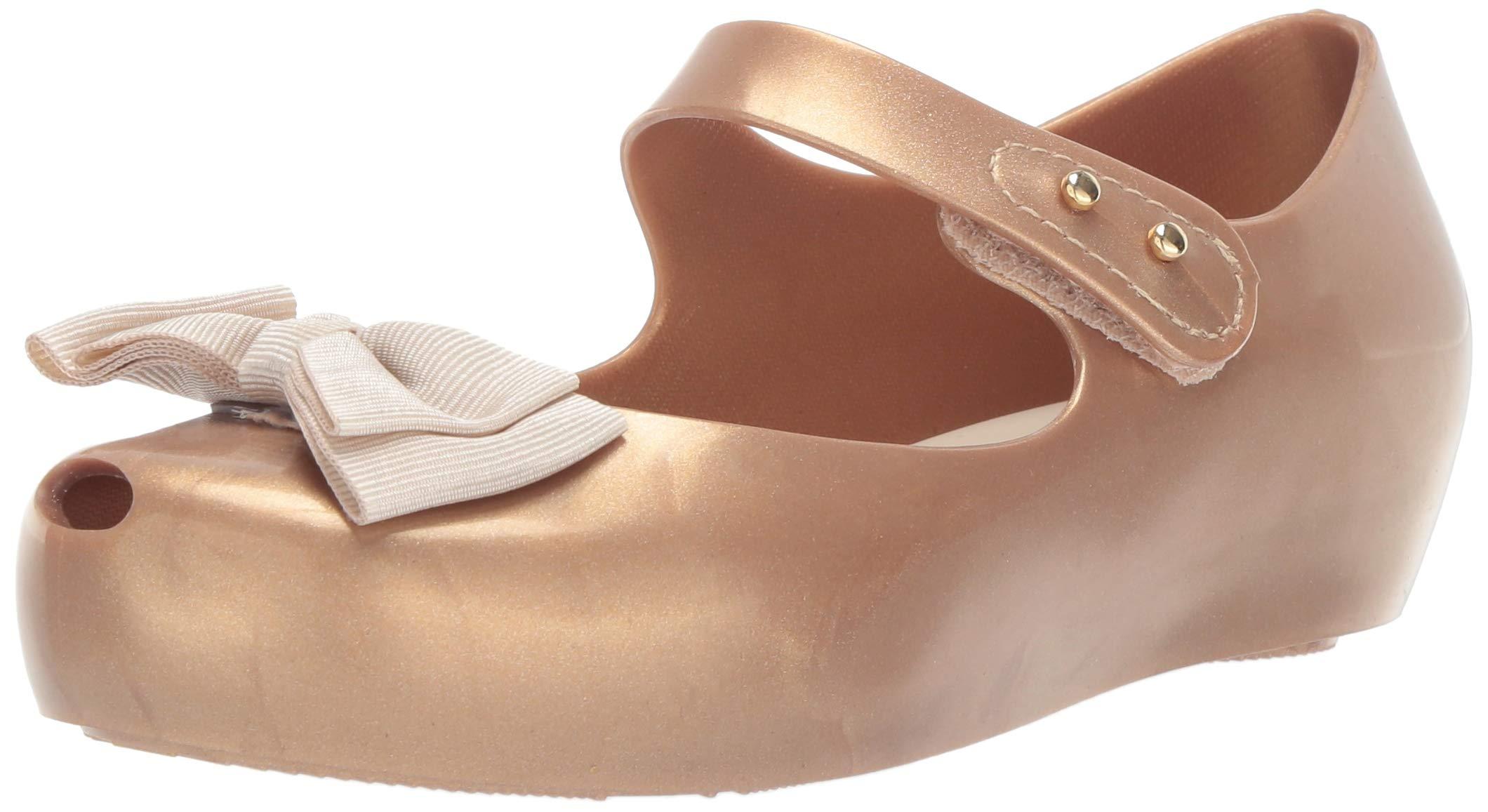 Mini Melissa Girls' Mini Ultragirl Sweet Mary Jane Flat, Gold Glitter tan, 6 Medium US Toddler