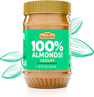 product image for Almond Butter No Sugar Added, Made with Dry Roasted Almonds, Peanut Butter Bulk Pack of 6 x 16oz Nut Butter Jar – Crazy Richard's
