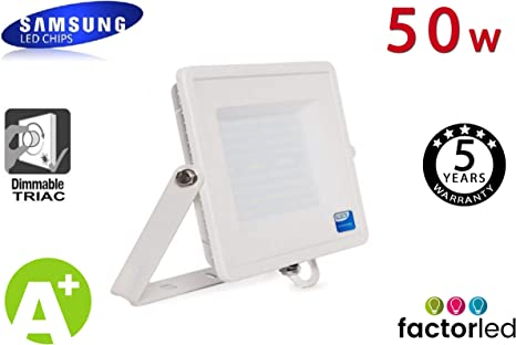 FactorLED Foco Proyector LED Exterior SAMSUNG Blanco 50W IP65 ...