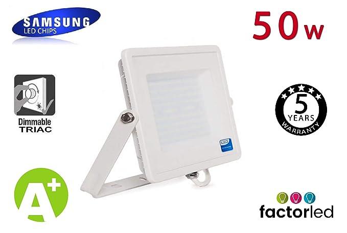 FactorLED Foco Proyector LED Exterior Blanco 50W IP65 Elegance Dimable Triac 3 Años de Garantía, Varias Temperaturas de Color (Blanco Frío)