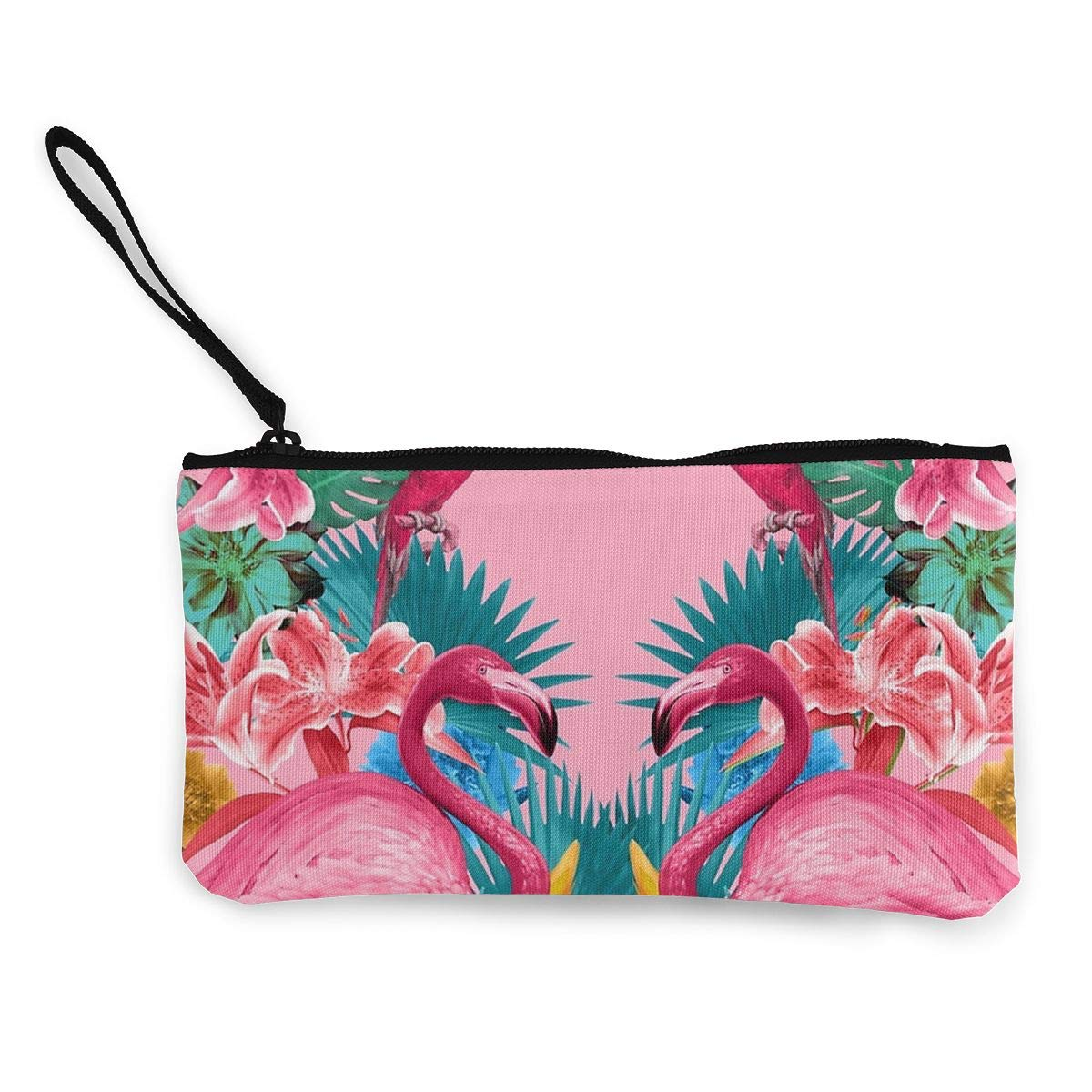 3 Womens Canvas Coin Wallet Cellphone Clutch Purse With Wrist Strap Pink Flamingo Pattern Zipper Small Purse Wallets
