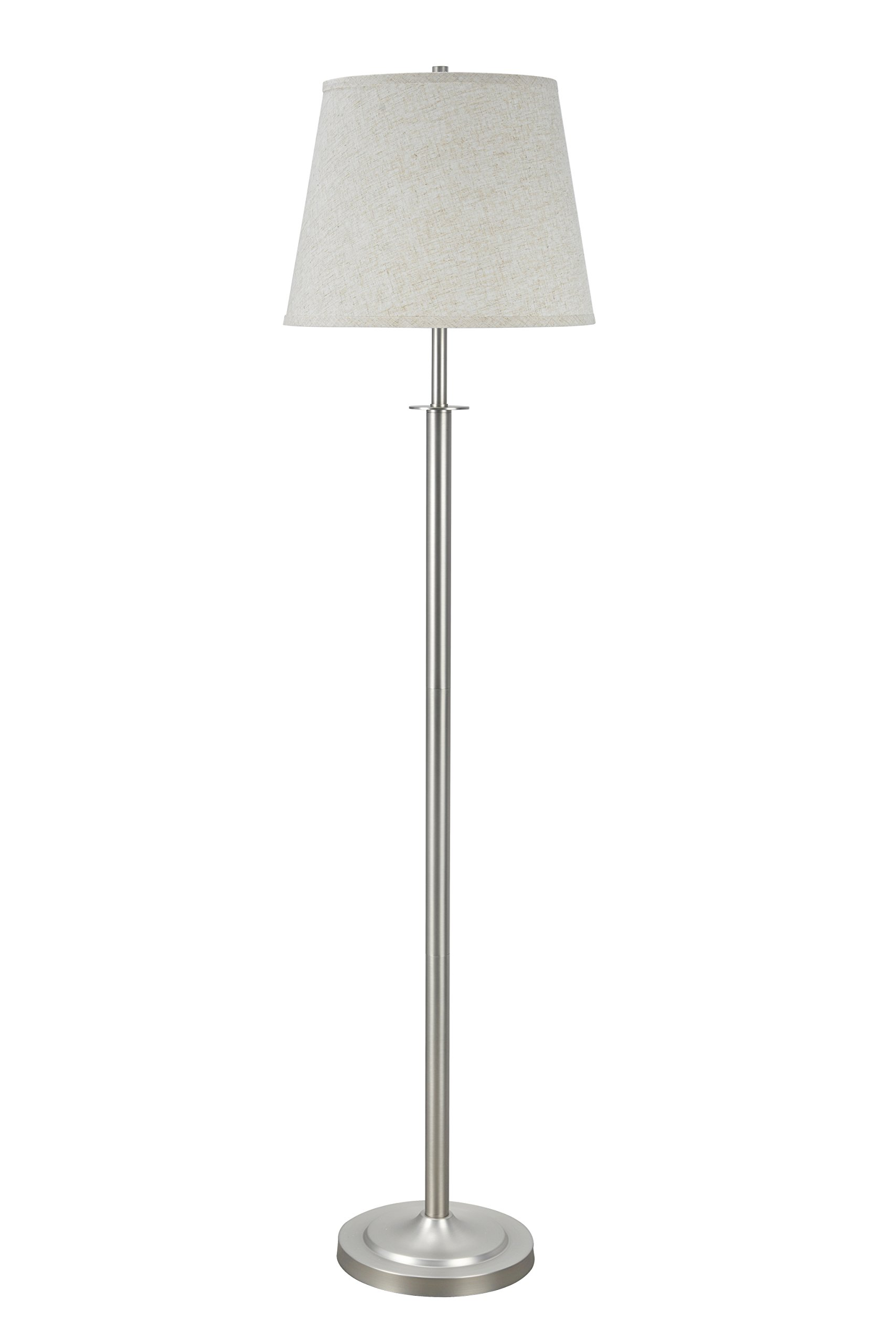 Aspen Creative 45005, 1-Light Metal Floor Lamp, Transitional Design in Matte Brushed Nickel, 60'' High