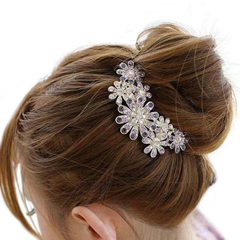 Floral Rhinestone Inlaid Hairpin Hair Clip Women Hair Comb Fashion Accessory (Pink) Greenlans