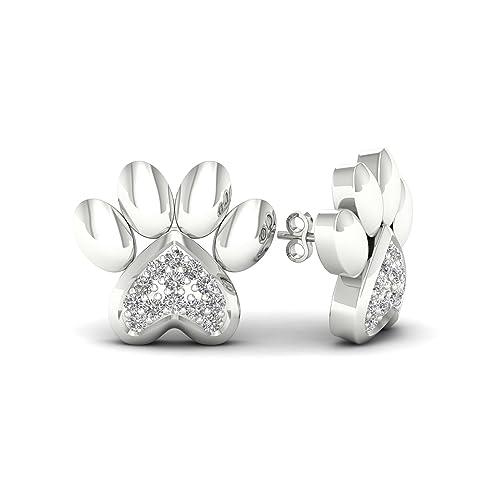 amazon igi certified 1 20ct tdw diamond dog paw earring paw Diamond Earring Setting Types igi certified 1 20ct tdw diamond dog paw earring paw print earrings in 10k white