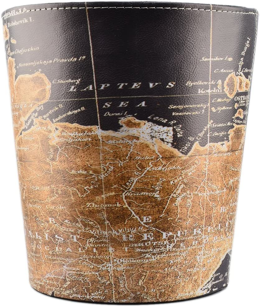 Yamix Wastebasket, Retro European Style Household Home Office Round PU Leather Waste Bin Paper Basket Trash Can Dustbin Garbage Bin Wastepaper Basket Ashcan Ashbin Without Lid - Map Pattern