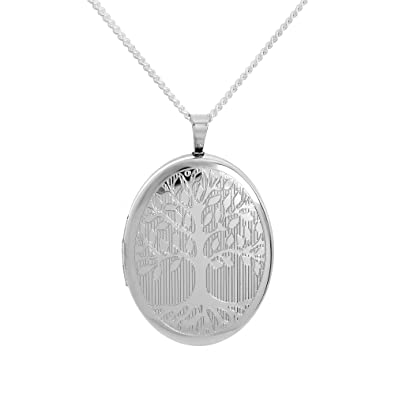 TOC Sterling Silver Tree Of Life Oval Locket 20mm Necklace 18 OxFuh