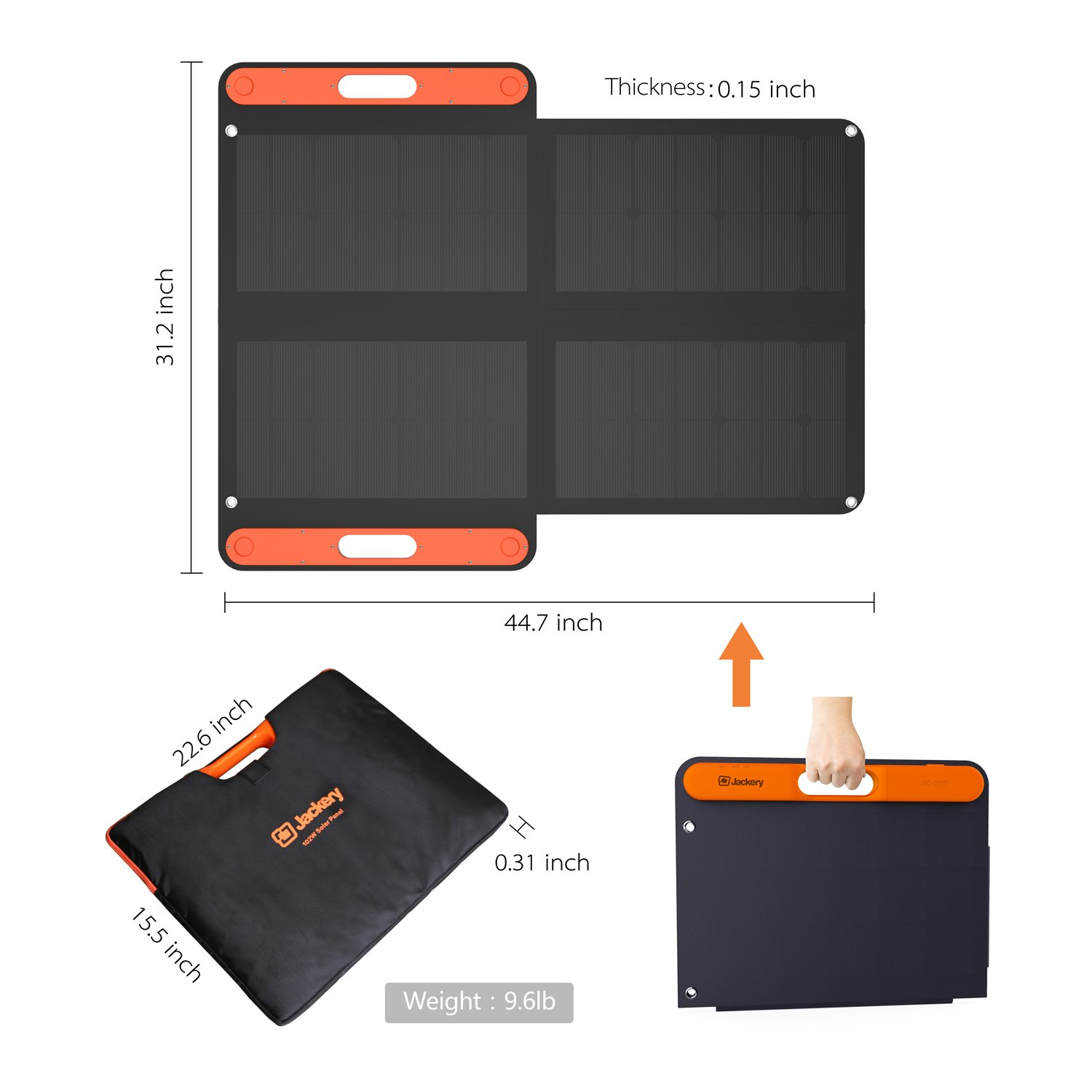 Jackery Portable Solar Panel 100W Explorer 440 and Powerpro 500, Foldable Solar Charger Additional USB C and USB Output for Phones Tablet Camera Camping Outdoor by Jackery (Image #4)