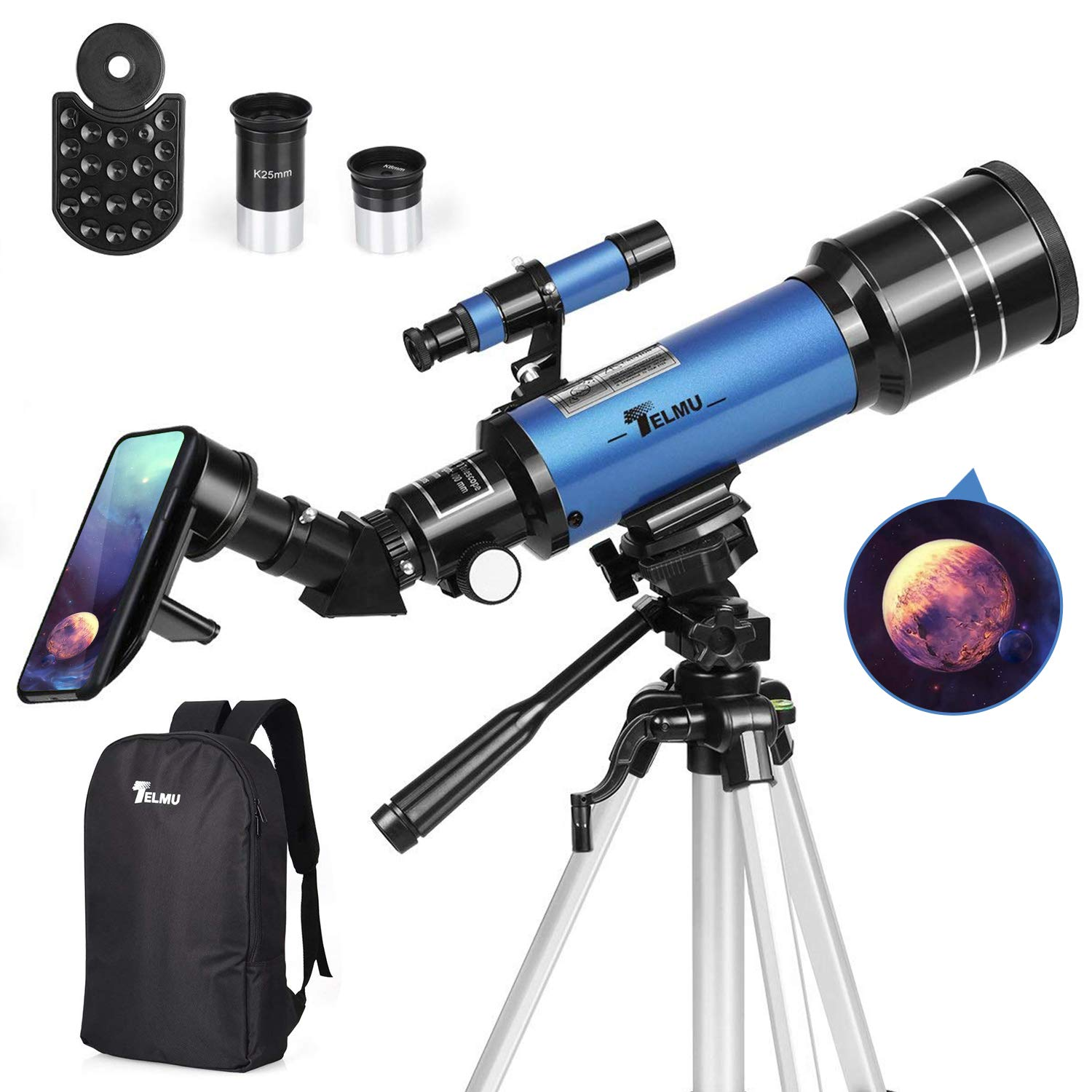 TELMU Telescope 70mm Aperture Refracting Telescope Adjustable(17.7In-35.4In) Portable Travel Telescopes for Astronomy with Backpack, Phone Adapter for Any Model by TELMU