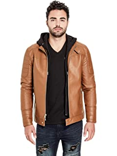 Guess Factory Men S Florence Faux Leather Moto Jacket At Amazon